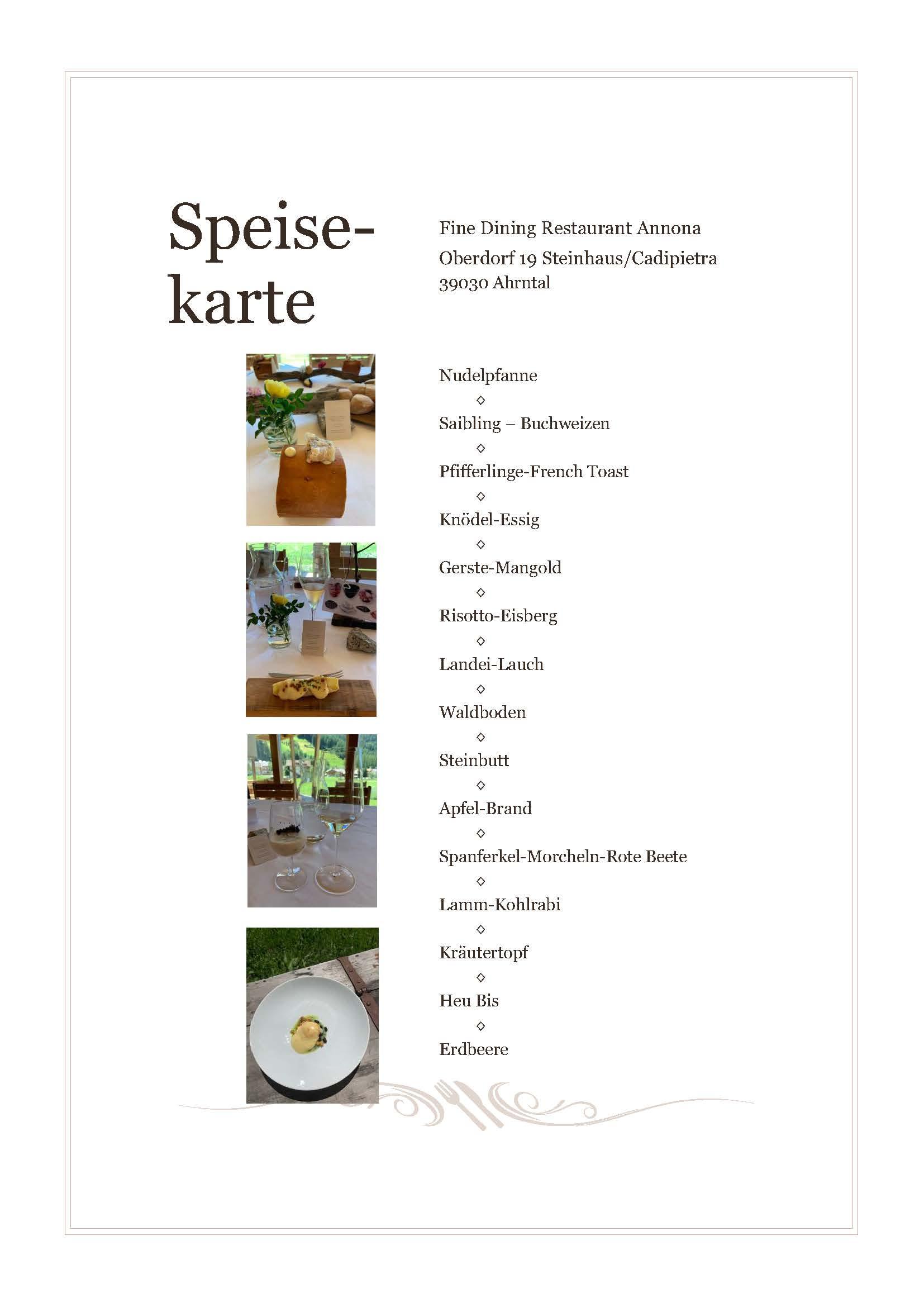 Unser Menü im Alpine Cuisine Restaurant Annona