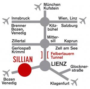 Anfahrt zur Dolomiten Residenz****, Sporthotel Sillian nur ein Katzensprung entfernt.