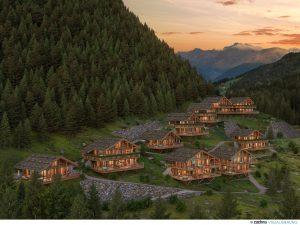 Visualisierung der luxuriösen Waldchalets des Alphotel Tyrol, die im Dezember eröffnet werden.